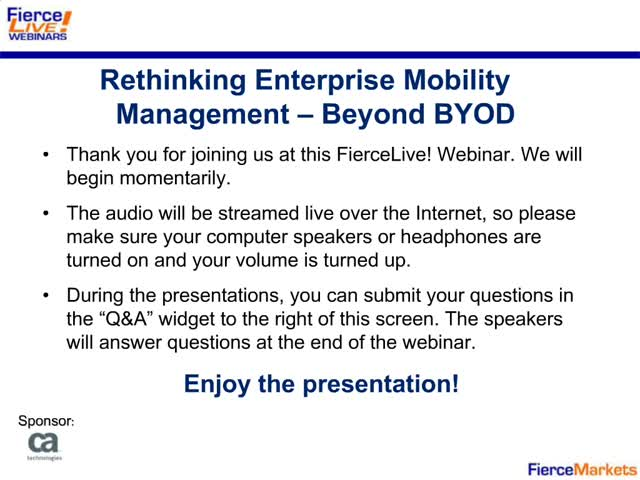 FierceMobile IT: Rethinking Enterprise Mobility Management – Beyond BYOD