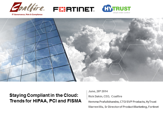 Staying Compliant in the Cloud: Trends for HIPAA, PCI and FISMA