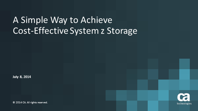 A Simple Way to Achieve Cost Effective System z Storage