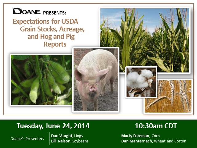 Expectations for USDA Grain Stocks, Acreage, and Hog and Pig Reports