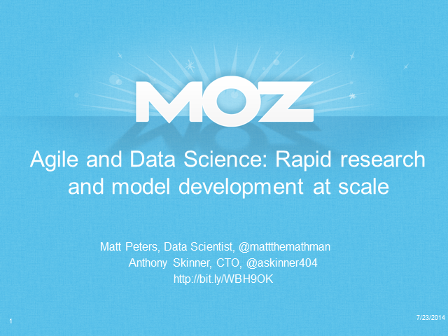 Agile and Data Science: Rapid Research and Model Development at Scale