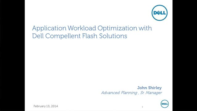 Application Workload Optimization with Dell Compellent Flash Solution