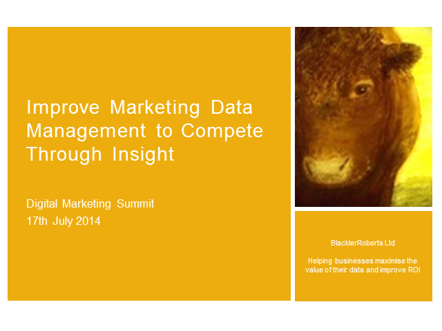 Improve Marketing Data Management to Compete Through Insight