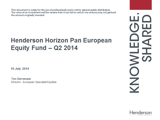 Europe - creating the virtuous circle - HHF Pan European Equity Quarterly update