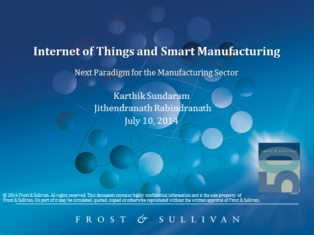 The Internet of Things and Smart Manufacturing