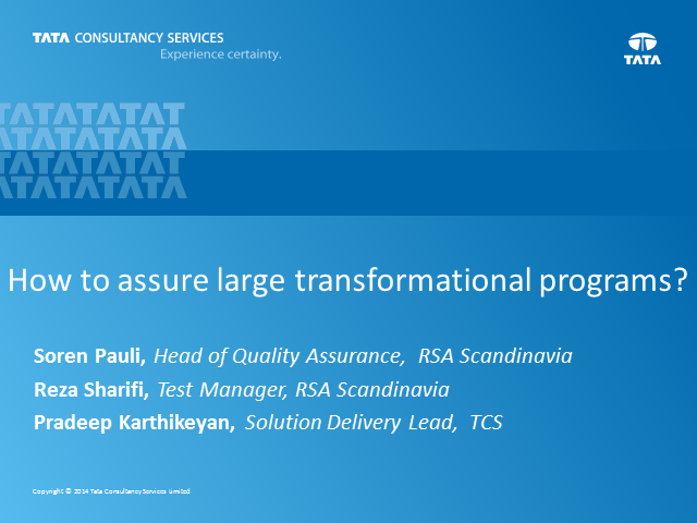 How to assure large transformational programs?