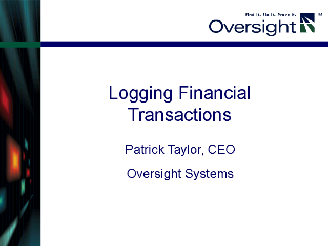 Logging Financial Transactions