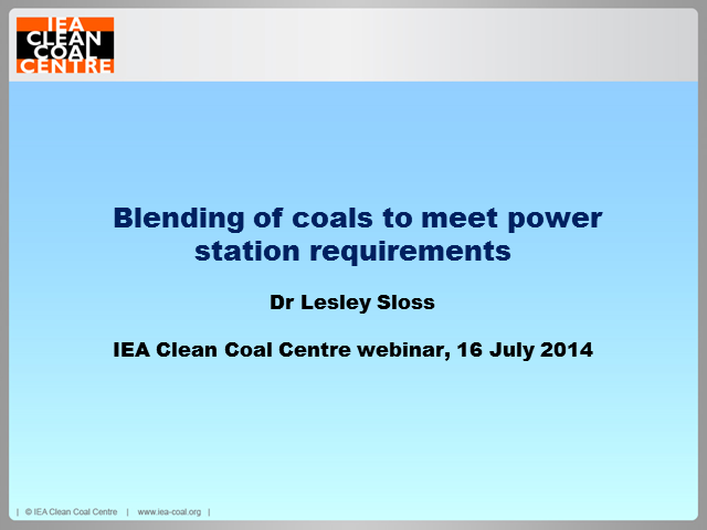 Blending of coals to meet power station requirements