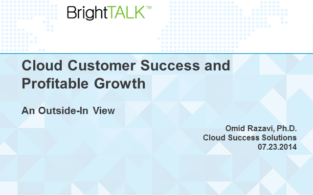 Cloud Customer Success and Profitable Growth