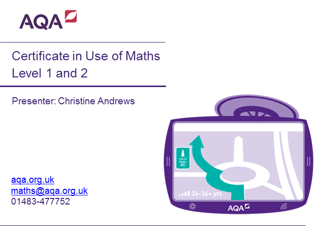 AQA Certificate in Use of Maths Levels 1 and 2