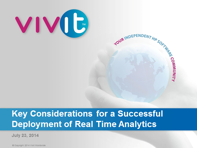 Key Considerations for a Successful Deployment of Real Time Analytics