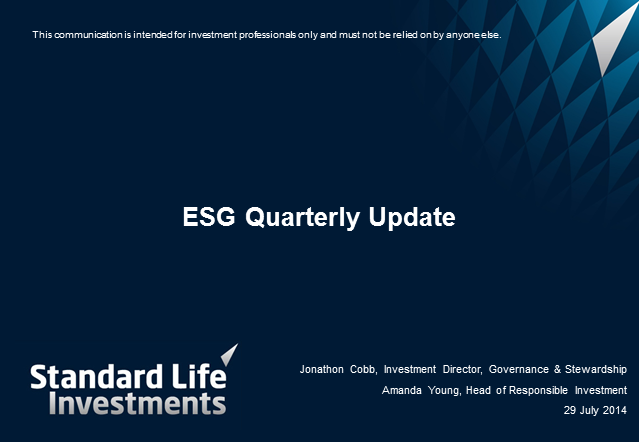 Environmental, Social and Governance (ESG) Quarterly Update