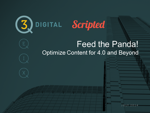 Feed the Panda! Optimize content for 4.0 and beyond