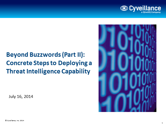 Concrete Steps to Deploy an Effective Threat Intelligence Capability