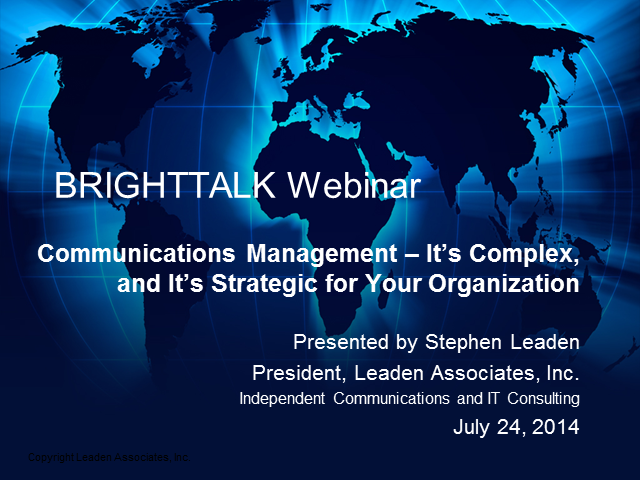 Communications Management – It's Complex & Strategic for Your Organization