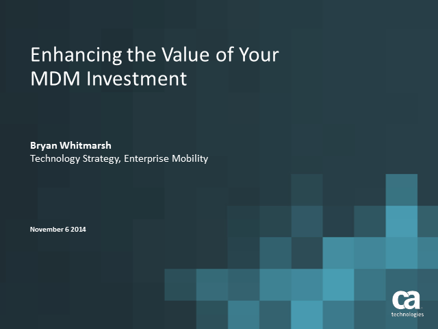 Enhancing the Value of Your MDM Investment