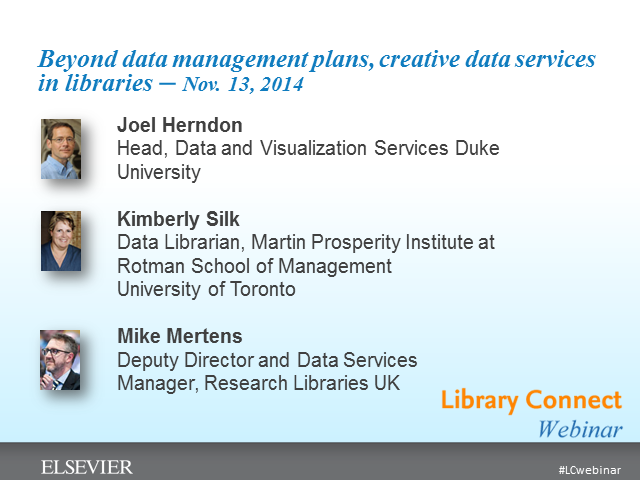 Beyond data management plans, creative data services in libraries