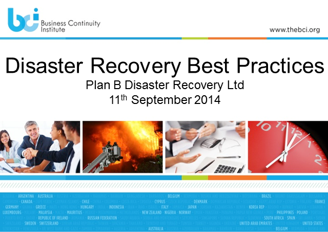 BCI webinar: Disaster Recovery Best Practices