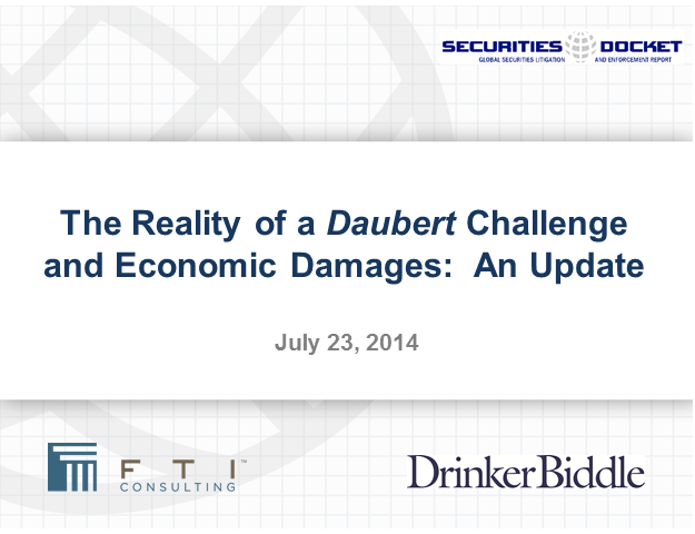 The Realities of a Daubert Challenge and Economic Damages — An Update