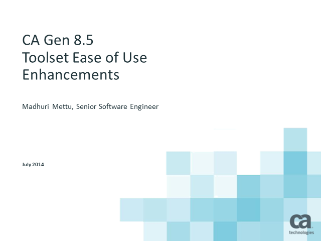 New toolset ease of use enhancements in CA Gen 8.5