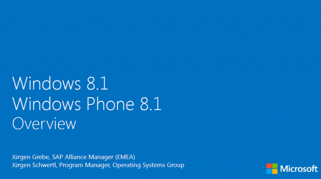 SAP and Microsoft Deep Dive: Overview of Microsoft Windows 8.1