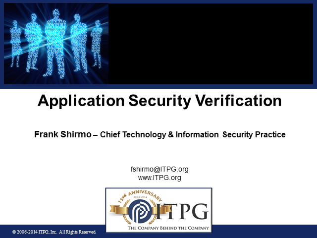 Application Security Verification/Testing Approach