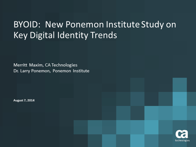 BYOID: New Ponemon Institute Study on Key Digital Identity Trends
