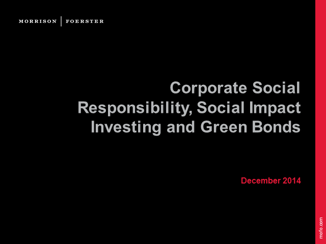 Green bonds and social impact investing