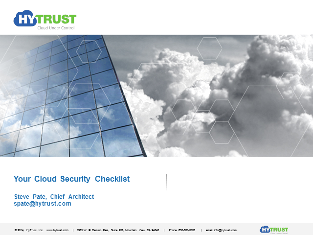 Your Cloud Security Checklist