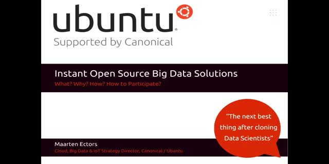 How Ubuntu is building Instant Open Source Big Data Solutions