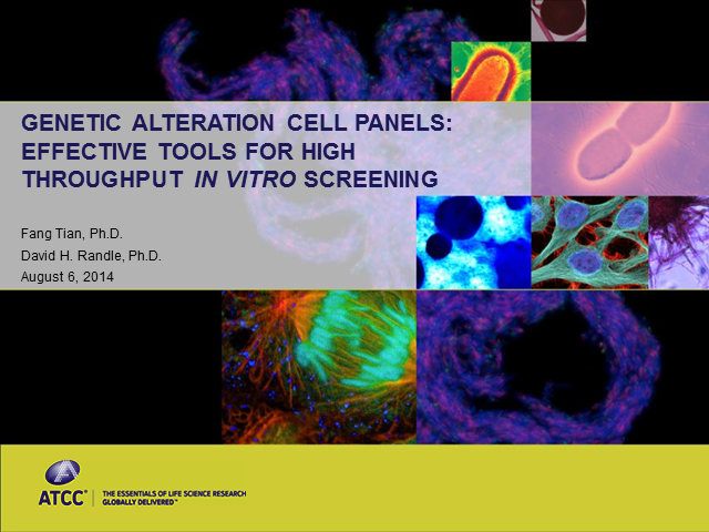 Genetic Alteration Cell Panels: Tools for High Throughput In Vitro Screening