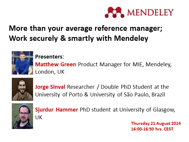 More than your average reference manager;  Work securely & smartly with Mendeley