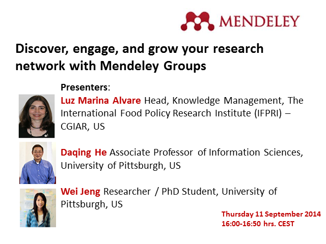 """Discover, engage, and grow your research network with Mendeley Groups"""
