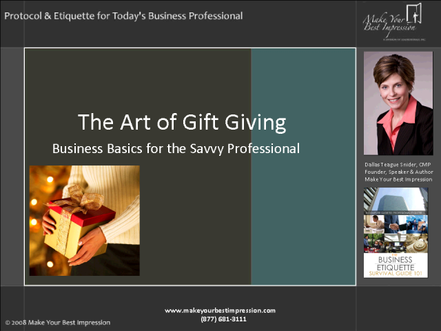 The Etiquette of Corporate Gift Giving - A Holiday Must!