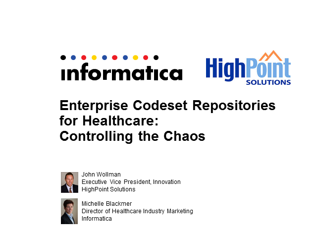 Enterprise Codeset Repositories for Healthcare: Controlling the Chaos