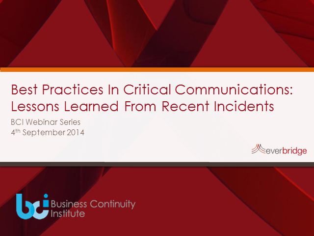 BCI webinar: Best Practices in Critical Communications