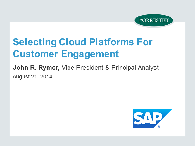 Selecting Cloud Platforms for Customer Engagement