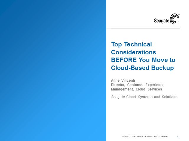 Top Technical Considerations BEFORE You Move to Cloud-Based Backup