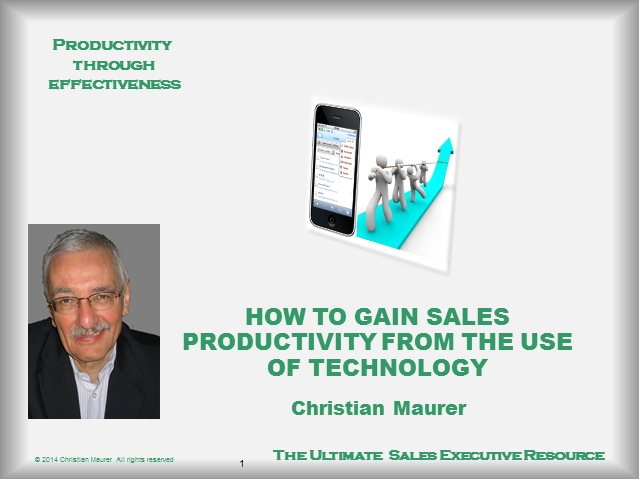 Formula for Lasting Sales Productivity
