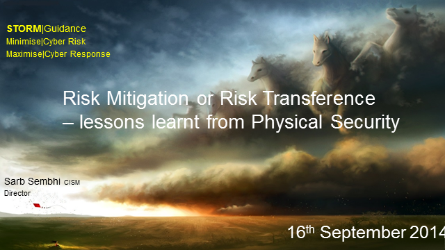 Risk Mitigation or Risk Transference – Lessons from Physical Security