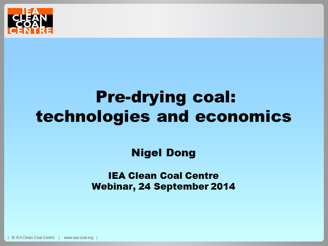 Pre-drying coal – technologies and economics