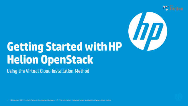Installing HP Helion OpenStack Community Edition in a Virtual Cloud Environment