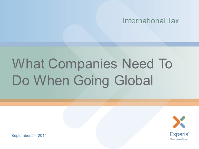 International Tax: What companies need to know when going global