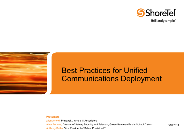 Best Practices for Unified Communications Deployment