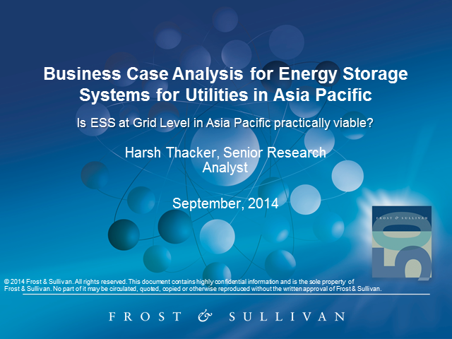 Business Case Analysis of Energy Storage Systems at Grid Level in APAC