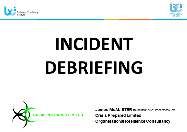 BCI webinar: Incident debriefing