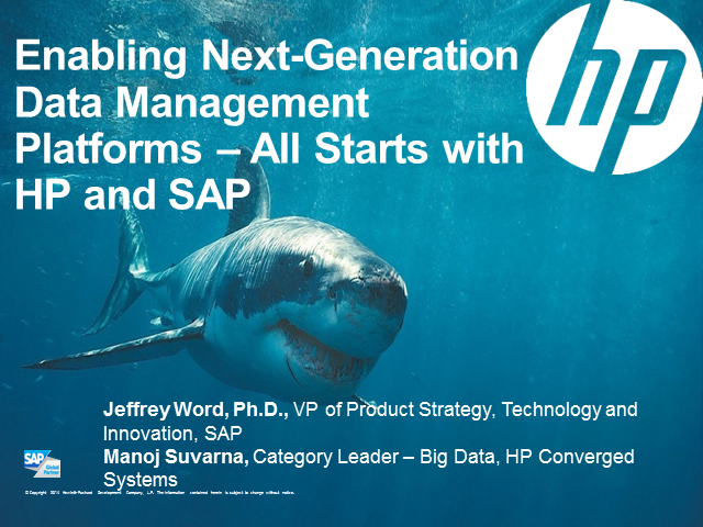 Enabling Next-Generation Data Management Platforms – All Starts with HP and SAP