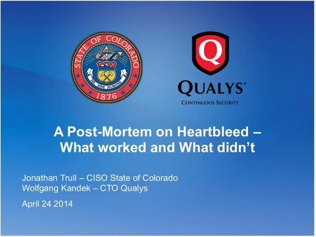 A Post-Mortem on Heartbleed: Real-world case study with the State of Colorado