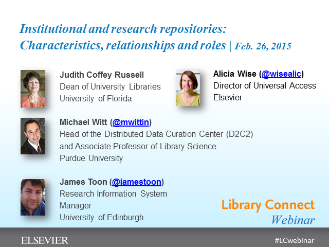 Institutional & research repositories: Characteristics, relationships and roles