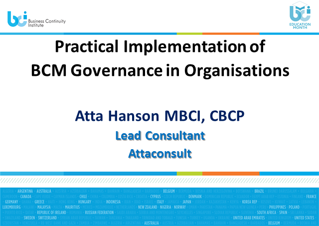 BCI webinar: Practical implementation of BCM governance in organisations